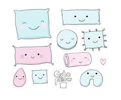 Set of cute cartoon pillows Stock Illustration