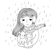 The young beautiful girl with two cute little kittens Stock Illustration