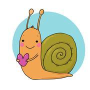 Cute cartoon snail with heart Stock Illustration