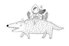 Little Red Riding Hood fairy tale Stock Illustration