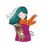 Beautiful cartoon girl and pug Stock Illustration