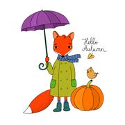 Cute cartoon fox under an umbrella and a small bird on a pumpkin Stock Illustration