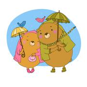 Cute teddy bear under an umbrella Stock Illustration
