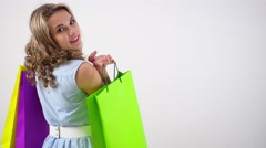 Girl with shopping bags Stock Footage