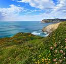 Summer ocean coastline view (Spain). Stock Photos
