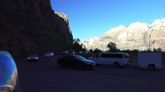 Zion National park, landscape ,hairpin curve Stock Footage