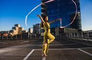 Gymnast girl with ribbon Stock Photos