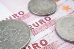 Drachma and Euro Stock Photos