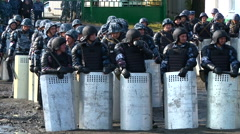Militarized Police in prison riot Stock Footage