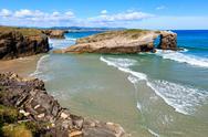 Cantabric coast summer landscape. Stock Photos