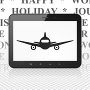 Travel concept: Tablet Computer with Aircraft on display Stock Illustration