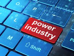Manufacuring concept: Power Industry on computer keyboard background Stock Illustration