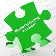 Industry concept: Manufacturing Workers on puzzle background Stock Illustration