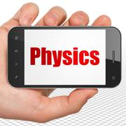 Learning concept: Hand Holding Smartphone with Physics on display Stock Illustration