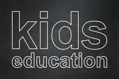 Education concept: Kids Education on chalkboard background Stock Illustration