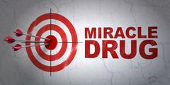 Medicine concept: target and Miracle Drug on wall background Stock Illustration