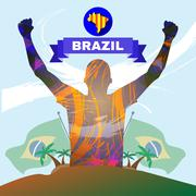 Digital vector, abstract brazil winner sportman Stock Illustration