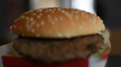 Hamburger in white paper box in fast food Stock Footage