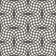 Vector Seamless Black and White Wavy Lines Lattice Pattern Piirros