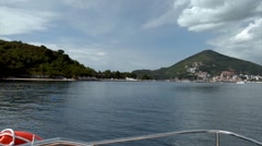 View from a boat on St. Nicholas Island in Montenegro Stock Footage