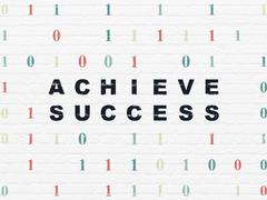 Finance concept: Achieve Success on wall background Stock Illustration