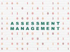 Finance concept: Assessment Management on wall background Stock Illustration