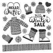 Set drawings knitted woolen clothing and footwear. Sweater, hat, mitten, boot Stock Illustration