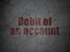 Money concept: Debit of An account on grunge wall background Stock Illustration