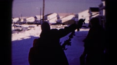 1959: snow people walk busy tourism dressed heavy playing HAGERSTOWN, MARYLAND Stock Footage