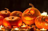 Creative pumpkin decorations Stock Photos