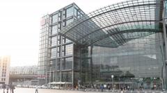 Establishing shot of Berlin Central Railway Station Hauptbahnhof in Berlin Stock Footage