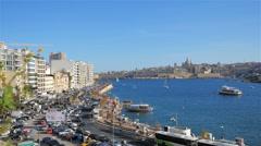 Valletta, Malta: View from Sliema over Marsamxett Harbour Stock Footage