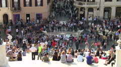 Rome, Italy Tourists at Barcaccia in Spain Square Stock Footage