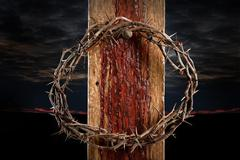 Crown of Thorns on Cross Stock Photos