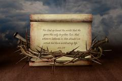 Crown of Thorns Nails and Scripture Stock Photos