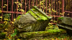 Broken Old Tombstone Stock Footage
