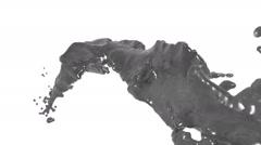 Flying grey liquid flow in slow motion. juice Stock Footage