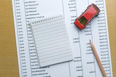 Man planning monthly budget, Finance about car concept Stock Photos