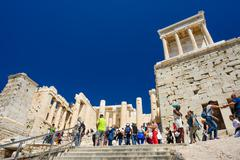 Athens, Greece - April 17th, 2016: People at Parthenon temple entrance on the Kuvituskuvat