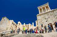 Athens, Greece - April 17th, 2016: People at Parthenon temple entrance on the Stock Photos