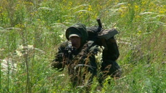 Russian armed soldiers. Stock Footage