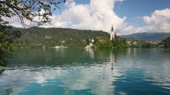 Bled Lake with the Assumption of Mary Church Stock Footage