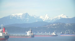Snow Capped Mountains taken from Point Grey Park, Kitsilano. Vancouver Stock Footage