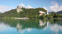 Lake Bled with castle,Slovenia Stock Footage