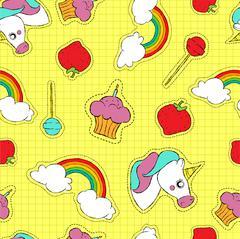 Cute hand drawn stitch patch icon seamless pattern Stock Illustration