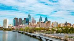 Philadelphia Skyline Daytime Timelapse 4K HD Stock Footage