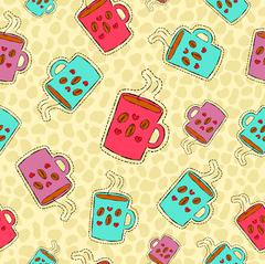Coffee drink hand drawn patch icon background Stock Illustration