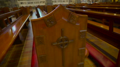 The wooden bench inside the Gothic Church in Ireland Stock Footage