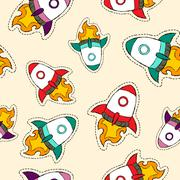 Rocket ship patch icon pattern in hand drawn style Stock Illustration