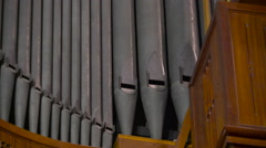 The metal bamboo organ in the church in Ireland Stock Footage